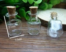 10 pcs 25x15mm Transparent Glass  Wishing Bottles Square Bottle