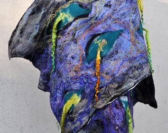 Beautiful shawl, felted scarf, silk, wool, felted, gift, fiber art, white, green, purple, brown, grey