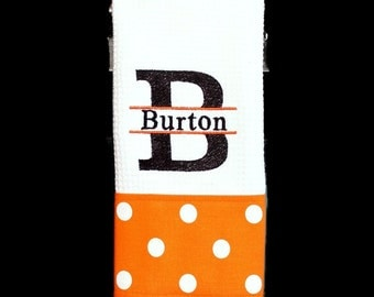 Split Initial and Name with Orange and White Dot Monogrammed Dish Towel or Hand Towel