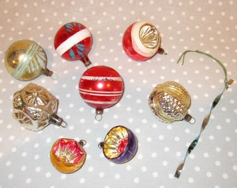 Group of 8 Antique Glass Christmas Tree Ornaments Stripes Starburst Indented Vintage Miniature Small