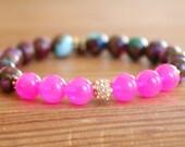 Mosaic Agate Bracelet, Heart jewelry, for Beach, Pink Jade, Boho, Bohemian, Green, Blue, stretch bracelet