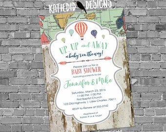 Up up and Away Baby shower Invitation Adventure awaits gender neutral reveal map rustic chic hot air balloons sip see world wood 1468 diaper