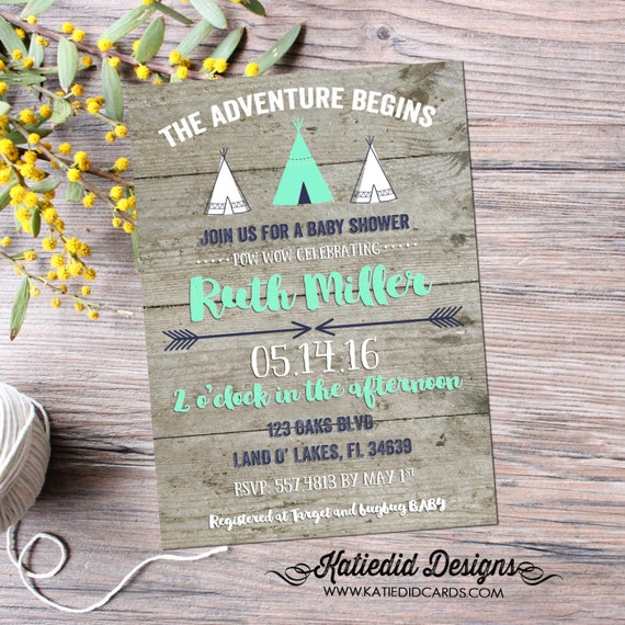tribal baby shower invitation BOHO chic teepee pow wow arrow sprinkle mint green navy wood rustic chic theme gray item 129 shabby chic