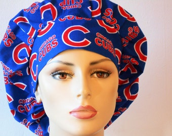Scrub Hats Cubs MLB Bouffant Surgical Scrub Hat - Chicago Cubs with a Matching Headband Scrub Caps for Women