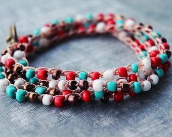 beaded bracelet, turquoise bracelet, torquoise bracelet, turquoise jewelry, boho wrap bracelet, beaded jewelry, boho bracelet, boho jewelry