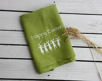 Dancing bunnies towel,Linen tea towel,easter towel, hostess gift, handmade tea towel, printed towel,, green linen towel, bright linen towel
