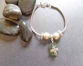 Cross Charm Bracelet with Green Scottish Sea Glass from Scotland, Silver