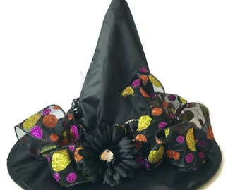 Halloween Witch Hat-Black and Polka Dot-Witch Hat-Costume-Halloween-Witch