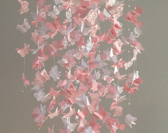 Silhouette Butterfly Mobile/ Lace Chandelier mobile  - White and Pink - Made to Order