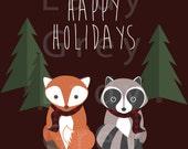 Woodland Happy Holidays Print