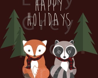 Woodland Happy Holidays Print