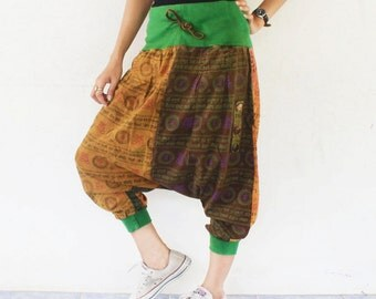 orange and green ohm print draw string  harem pants , size S-XL,unisex pants.