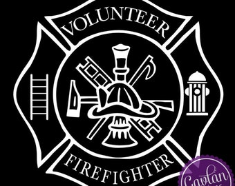 Volunteer Firefighter Window Decal - Ladder, Fire hydrant, Hat, axe, & more