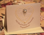 30th Pearl Wedding Anniversary Cream or White Congratulatory Sparkling Glitter Card, Pearls, Bling, Bridal Lace, Lace Hearts