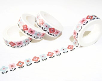 Flowers Washi Tape - Colored Flowers Washi Tape - Retro Flowers Washi Tape - Japanese Masking Tape - 10 mt - Colored Flowers Planner Tape