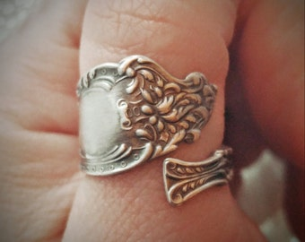 Victorian Spoon Ring, Sterling Spoon Ring, Silver Spoon Ring, Antique Watson Altair, Floral Victorian Petite Ring, Adustable Ring Size, 6111