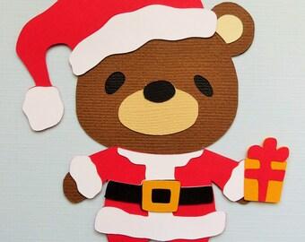 Christmas Winter Teddy Bear Santa Claus Paper Die Cut Scrapbook Embellishment