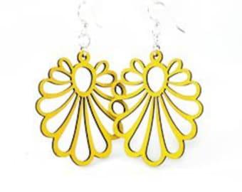 Geometric Flower - Wood Earrings