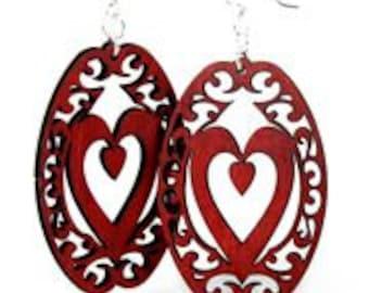 Decorative Heart Oval - Wood Earrings