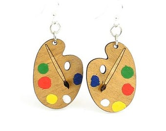 Painters Palette - Wood Earrings
