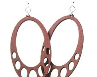Oval Hanging - Wood Earrings Laser Cut