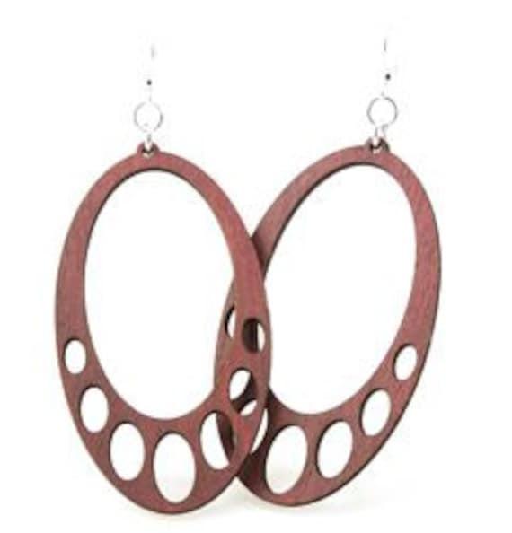 Oval Hanging - Wood Earrings Laser Cut