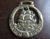 Vintage English horse brass Golden Hind Sailing Ship pendant charm good luck gift harness martingale tack circa 1920-40's / English Shop