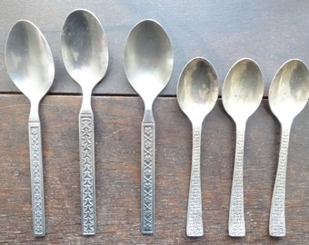 Vintage English Mixed Assorted Collection 6 Teaspoons Tea Spoons Cutlery Silverware Flatware circa 1970's / English Shop