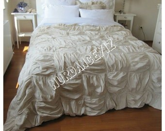 Square Ruched bedding-Duvet cover -Full Queen King custom shabby chic bedding Nurdanceyiz-French country home cottage natural cotton linen