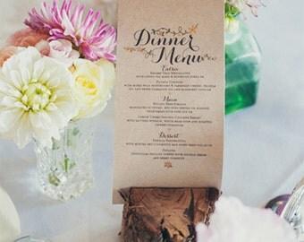 Printable Wedding Menu - The Amore Collection