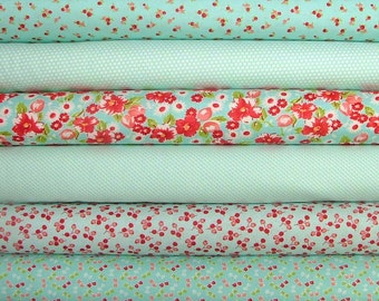 Little Ruby Fat Quarter Bundle of 6 in Aqua by Bonnie & Camille for Moda