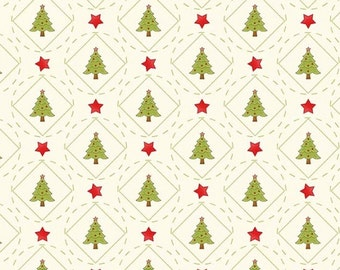 Purely Christmas Tree Plaid Circle in Cream by Mary Jane Carey of Holly Hill Quilt Designs