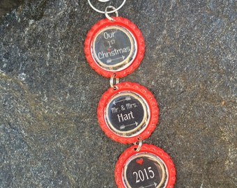 Our 1st Christmas Personalized Name Bottlecap Ornament