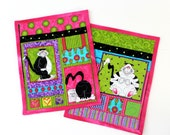 Reserve for Bette  Dieting Cat Quilted Mug Rug Weight Loss Feline  Set of 2 Table Mat Valentines Day Gift