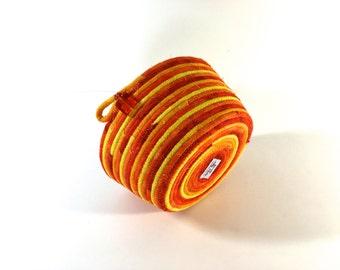 Coiled Rope Basket in Bright Orange  Halloween Candy Corn Bowl  Autumn Fall Decor  Fabric Bowl Organizer - Handmade Fiber Art by Sally Manke