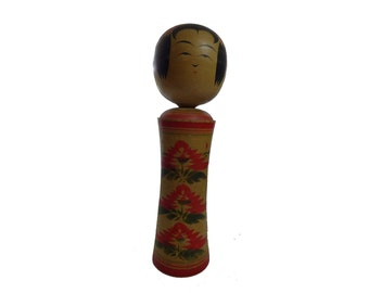 Vintage 1950s Large 13in Artist Signed Kokeshi Painted & Wood Doll