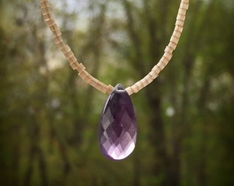 Amethyst Briolette and Seed Bead Necklace