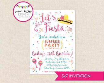 Fiesta Birthday Invitation, Fiesta Birthday, Fiesta Watercolor Invitation, Fiesta Birthday Decorations, Fiesta Party, Lauren Haddox Designs