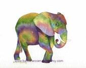 Elephant Art Print, Baby Elephant Painting, Watercolor Elephant, Nursery Wall Art, Safari Animal, Zoo Animal Wall Art, Kids Room Decor Gift