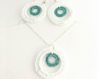 Round Crochet Pendant , Silver Tone, 100% Cotton, Hand Made, Vintage Inspired,  Item No. D153B