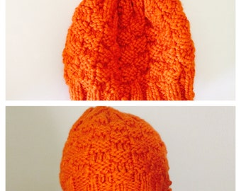 Slouchy Hat/Beanie, Knitted, Pumpkin, Unisex Winter Accessory, Hand Made in the USA, tem no. BDE002