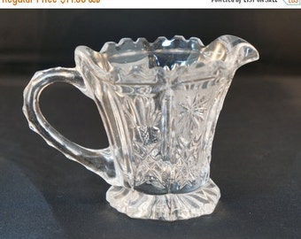Labor Day Sale EAPG Creamer Stars and Petals Antique Early American Pressed Glass