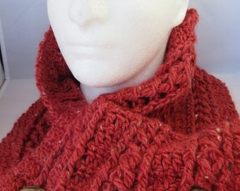 Ladies Wool, Llama, Bamboo Cowl/Scarf-Russet colored