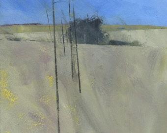 Original minimalist abstract landscape painting - February fields