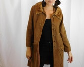 Vintage Suede Leather Button Up Coat With Fur Collar Size Small