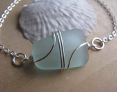 Sea Foam Green Aqua Blue Sea Glass Bracelet Beach Glass Jewelry