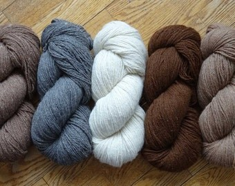 Worsted Weight A to Z Alpaca Yarn, Choose from 5 Natural Colors, Supersized 200 grams