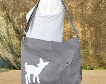 gray cotton canvas purse / messenger bag / shoulder bag / deer messenger /diaper bag / fawn sewn