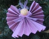 Pastel Purple Paper Angel, Christmas Angel, Purple Paper Ribbon Angel, Angel Collector, Tree Ornament, Holiday Angel, Pastel SnowNoseCrafts