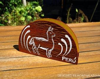 Handmade peruvian art wooden napkin holder with a cute llama and flowers design